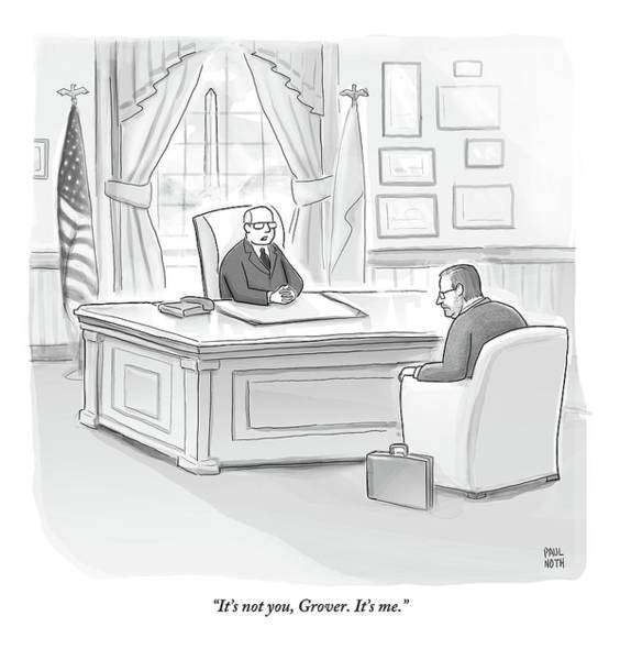 Republican Drawing - Grover Norquist Is Let Off By A Republican Boss by Paul Noth