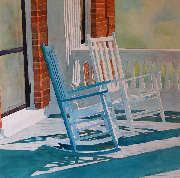 Rocking Chairs Painting - Growing Old Together by Terry Holliday