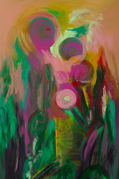 Non Representational Painting - Growing Together by Donna Blackhall