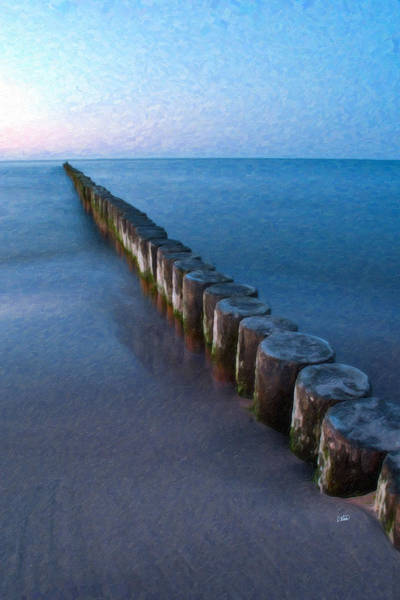 Painting - Groynes Baltic Sea Ger 3393 by Dean Wittle