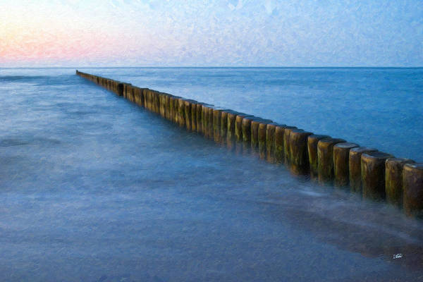 Painting - Groynes Baltic Sea Ger3392 by Dean Wittle