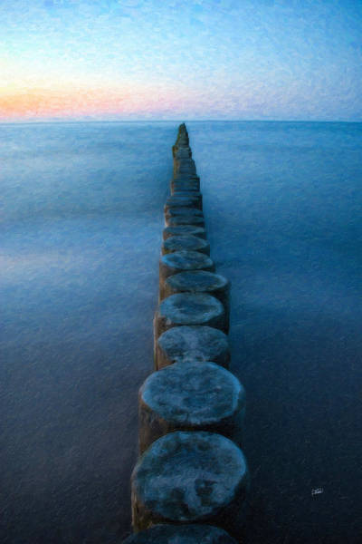 Painting - Groynes Baltic Sea Ger3394 by Dean Wittle