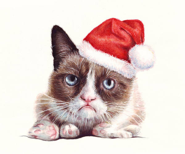 Funny Wall Art - Painting - Grumpy Cat As Santa by Olga Shvartsur