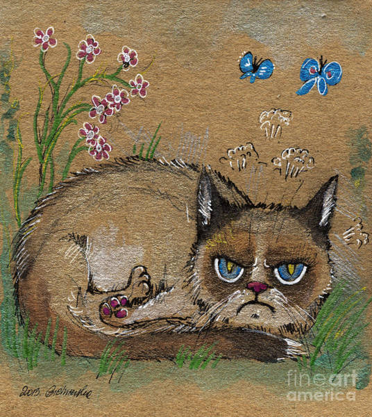 Pussycat Drawing - Grumpy Cat Loves Spring by Angel Ciesniarska
