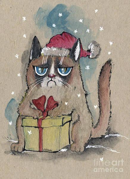 Wall Art - Painting - Grumpy  Christmas Cat by Angel Ciesniarska