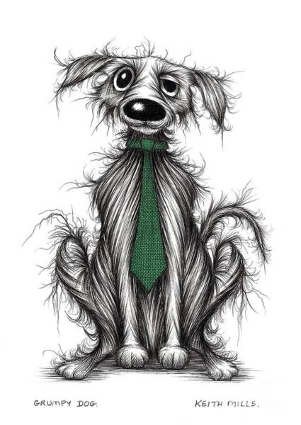 Miserable Drawing - Grumpy Dog by Keith Mills