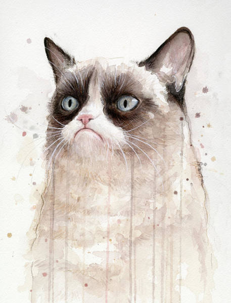 Fan Painting - Grumpy Watercolor Cat by Olga Shvartsur