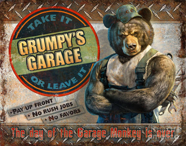 Painting - Grumpy's Garage by JQ Licensing