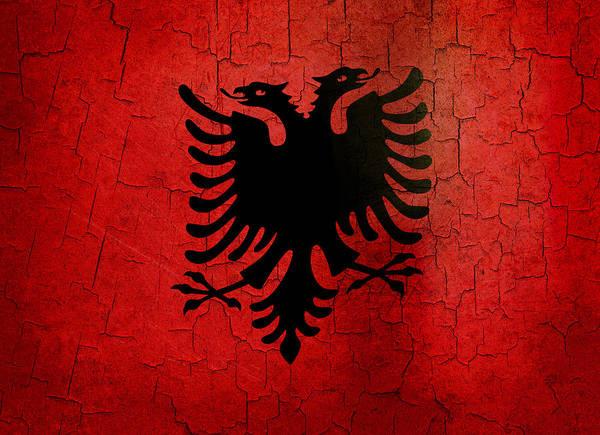 Grime Digital Art - Grunge Albania Flag by Steve Ball