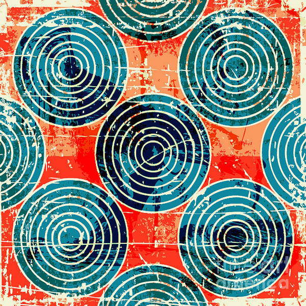 Circle Digital Art - Grunge Circles Poster by Nik Merkulov