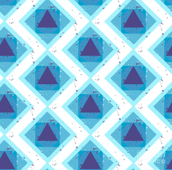 Triangle Digital Art - Grunge Colorful Abstract Geometric by Barsrsind