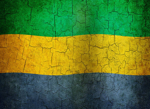 Gabon Digital Art - Grunge Gabon Flag by Steve Ball
