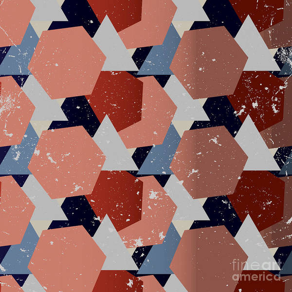 Triangle Digital Art - Grunge Geometric Background. Vector by Veronika M