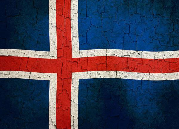 Icelandic Digital Art - Grunge Iceland Flag by Steve Ball