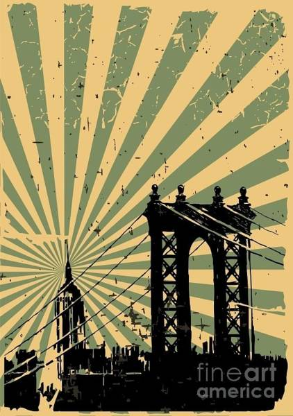 Wall Art - Digital Art - Grunge Image Of New York, Poster, Vector by Pgmart