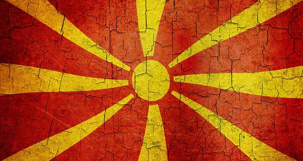 Macedonia Digital Art - Grunge Macedonia Flag by Steve Ball