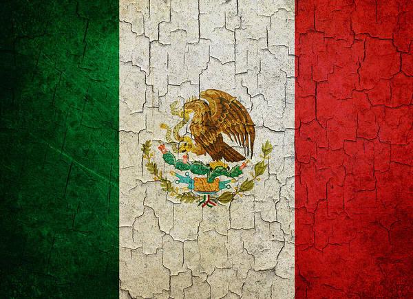 Grime Digital Art - Grunge Mexico Flag by Steve Ball