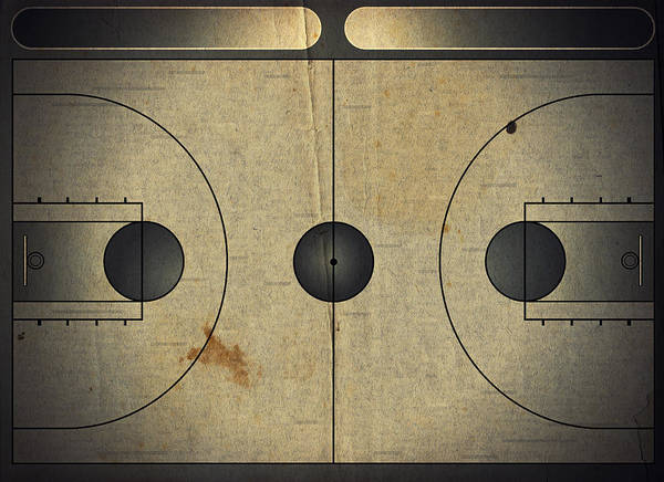 Scoreboard Digital Art - Grunge Style Illustration Of A Basketball Court by Modern Abstract
