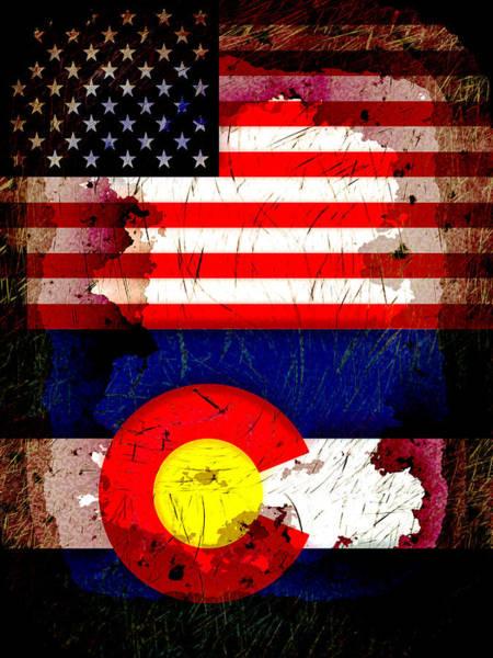 Wall Art - Digital Art - Grunge Style Usa And Colorado Flags by David G Paul