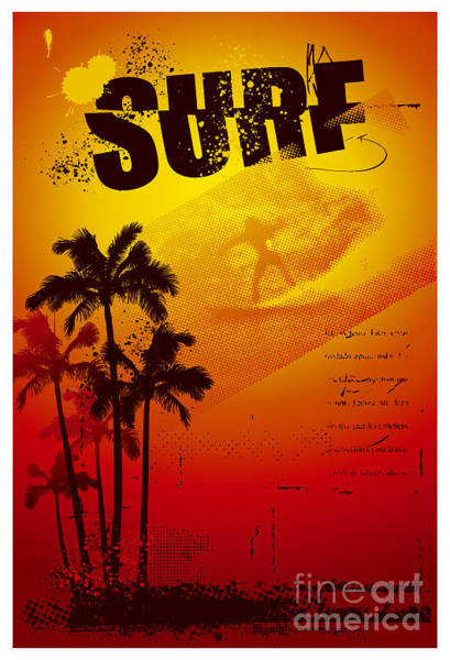 Wall Art - Digital Art - Grunge Surf Poster With Palms And Sunset by Locote