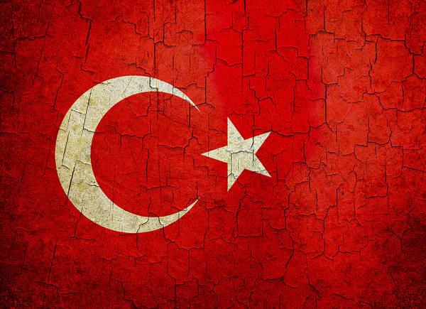 Grime Digital Art - Grunge Turkey Flag by Steve Ball