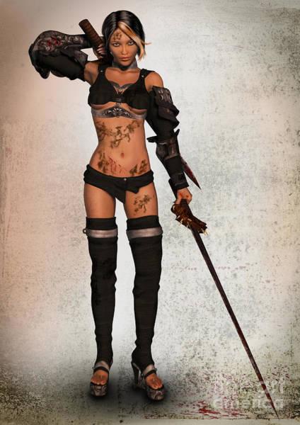 Digital Art - Grungy Female Warrior by Elle Arden Walby