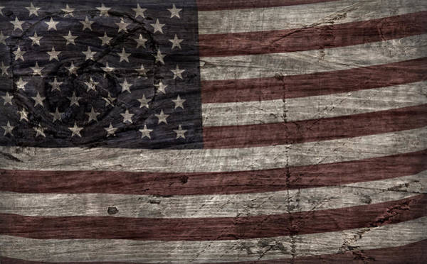 Wall Art - Photograph - Grungy Wooden Textured U.s.a. Flag by John Stephens