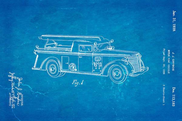 Vintage Fire Truck Photograph - Grybos Fire Truck Patent Art 1939 Blueprint by Ian Monk