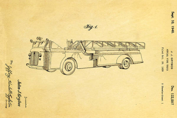 Vintage Fire Truck Photograph - Grybos Fire Truck Patent Art 1940 by Ian Monk