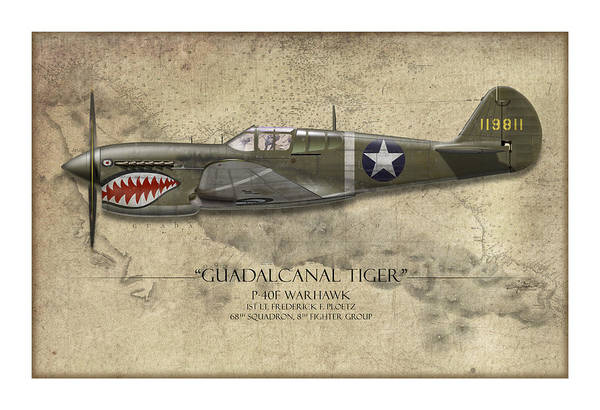 Tinder Wall Art - Painting - Guadalcanal Tiger P-40 Warhawk - Map Background by Craig Tinder