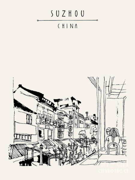Scene Wall Art - Digital Art - Guanqian Street In Suzhou, Jiangsu by Babayuka