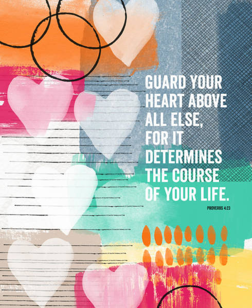 Wall Art - Mixed Media - Guard Your Heart- Contemporary Scripture Art by Linda Woods