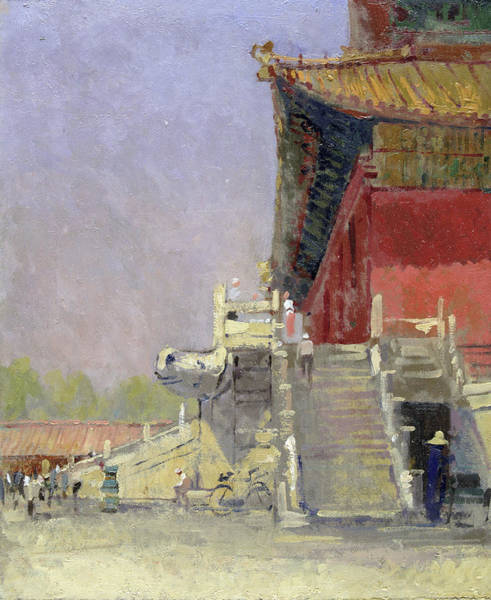 Beijing Photograph - Guarded Steps, 1998 Oil On Canvas by Bob Brown