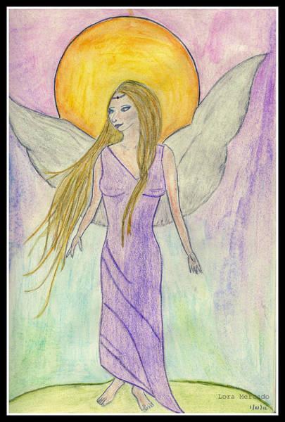 Drawing - Guardian Angel - Barbara by Lora Mercado