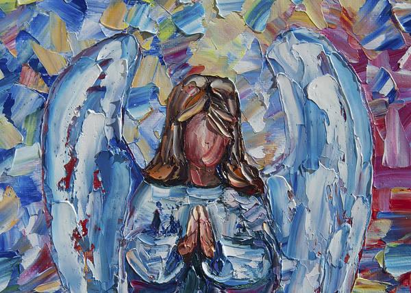 Painting - Guardian Angel Card by OLena Art - Lena Owens
