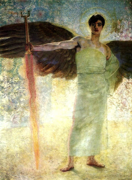 Flaming Sword Painting - Guardian Of Paradise by Franz von Stuck
