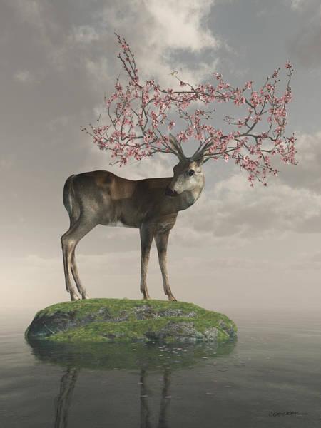 Deer Digital Art - Guardian Of Spring by Cynthia Decker