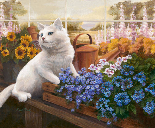 Kitten Wall Art - Painting - Guardian Of The Greenhouse by Evie Cook