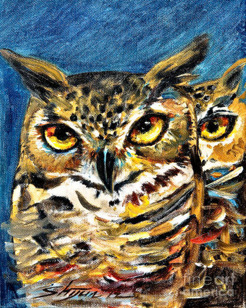 Painting - Guardian Owls by Shijun Munns