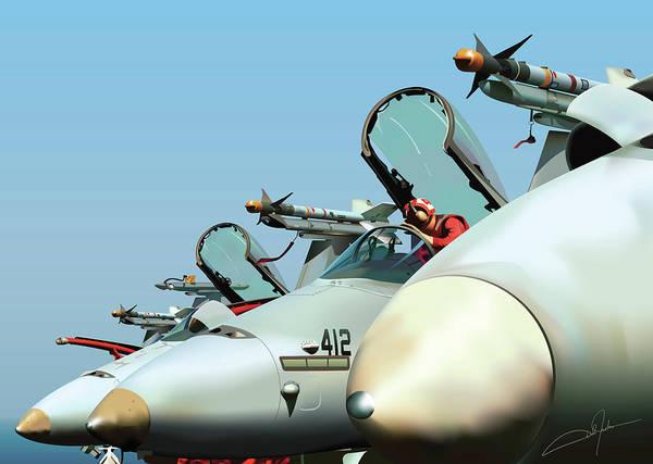 A-18 Hornet Wall Art - Digital Art - Guardians At Rest by Dale Jackson