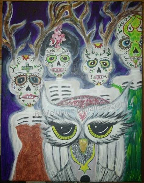 B. Melusine Mihaltses Wall Art - Painting - Guardians Of Our Transformations by B Melusine Mihaltses