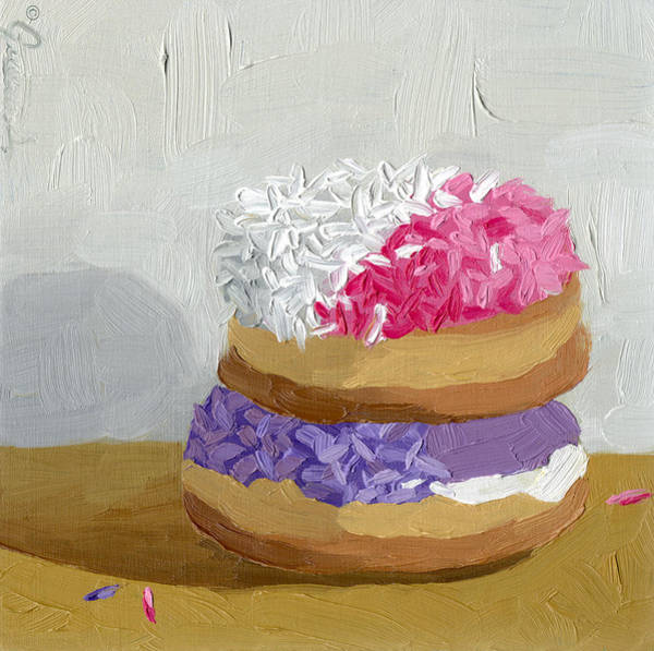 Doughnut Painting - Guava Filled Over The Grape Ape by Guenevere Schwien