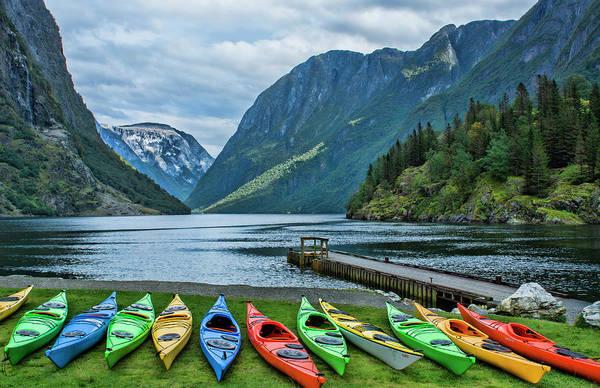 Kayaks Wall Art - Photograph - Gudvangen, Norway Fabulous Fjord Called by Bill Bachmann
