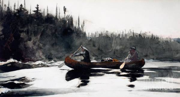 Paddling Painting - Guides Shooting Rapids by Winslow Homer