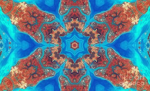 Aqua Satellite Digital Art - Guinea-bissau Kaleidoscope by Theo Westlake