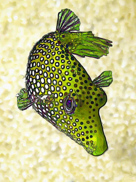 Manipulated Digital Art - Guinea Fowl Puffer Fish In Green by ABeautifulSky Photography by Bill Caldwell