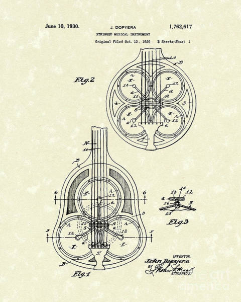 Drawing - Guitar 1930 Patent Art by Prior Art Design