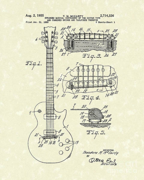 Drawing - Guitar 1955 Patent Art by Prior Art Design