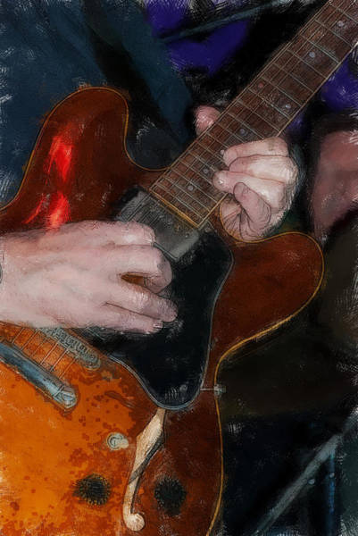 Fret Board Photograph - Guitar Color Drawing by David Lange