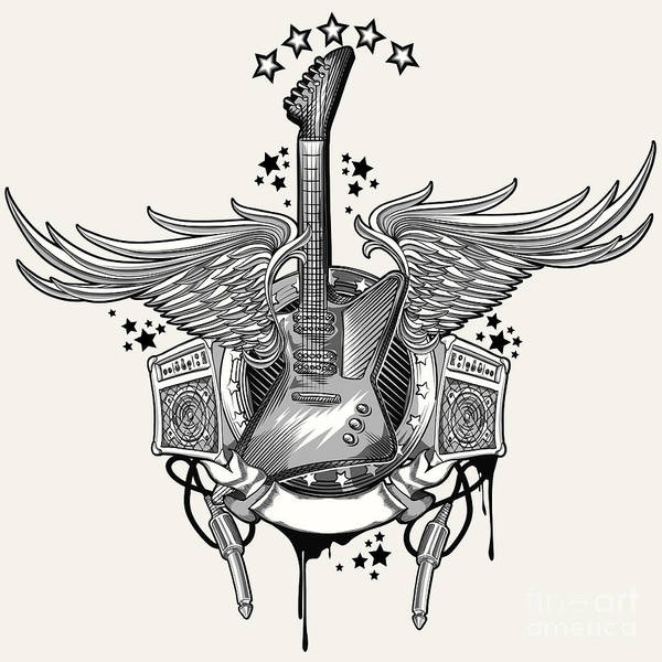 Space Digital Art - Guitar Emblem by Alex bond
